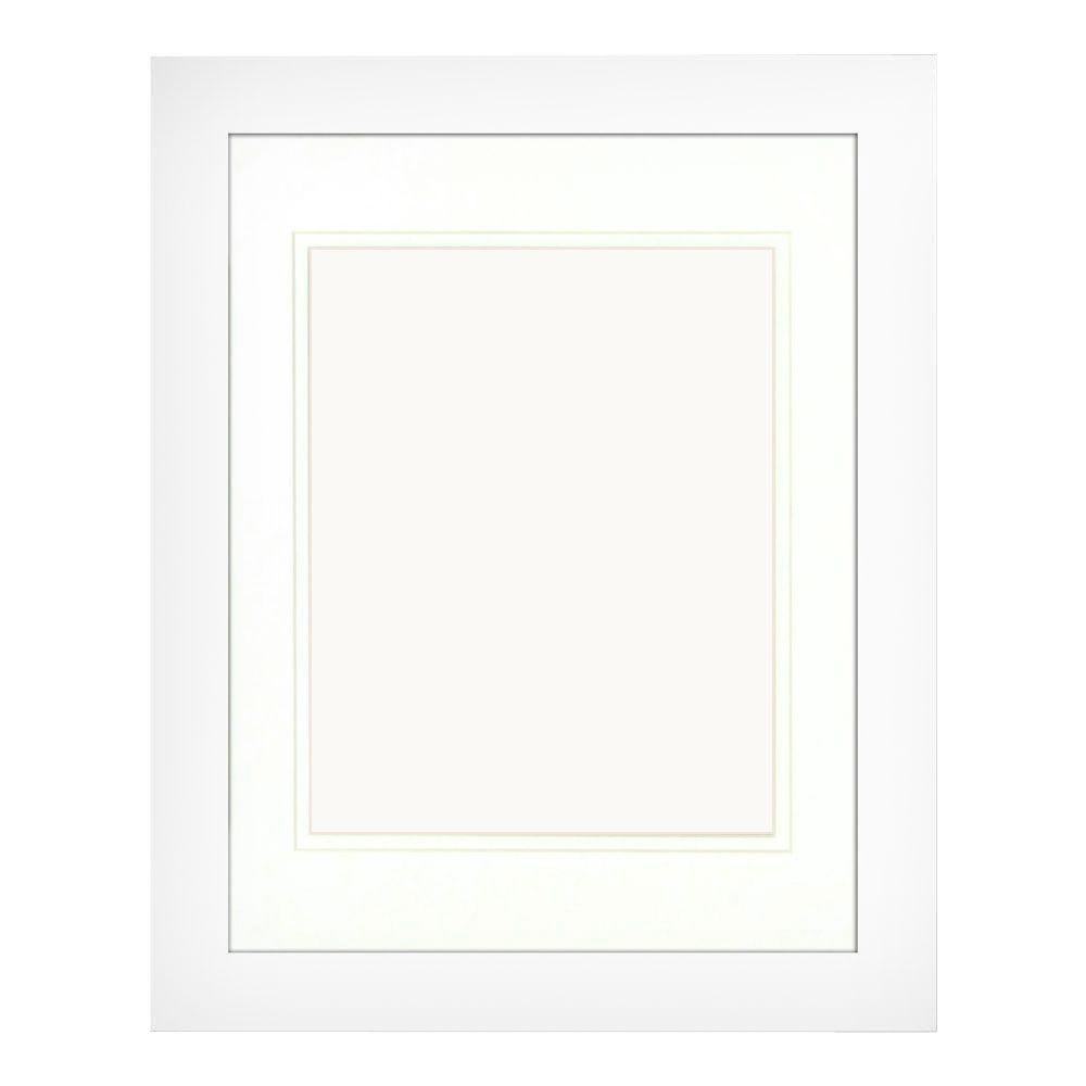 PTM Images 1-Opening 8 in x 10 in. Matted White Portrait Frame (Set ...