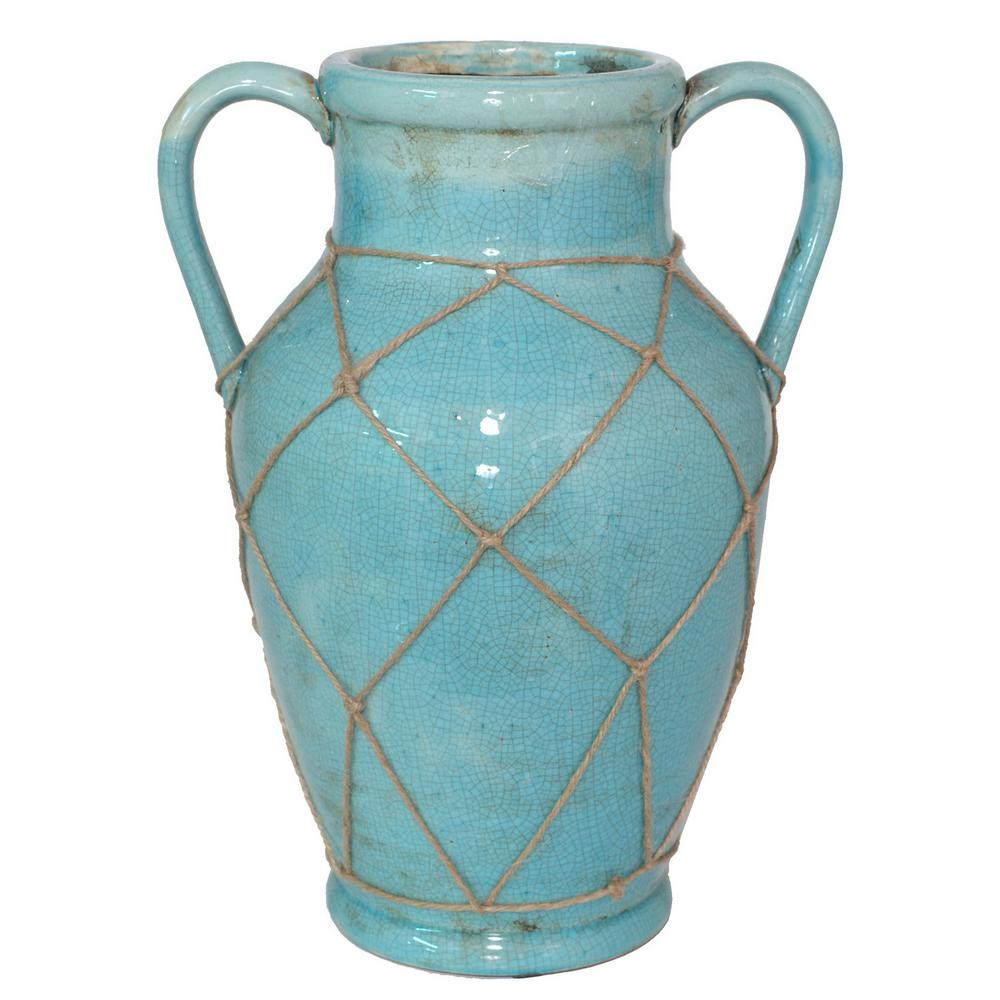 Three hands blue ceramic decorative vase with mesh rope 10068 three hands blue ceramic decorative vase with mesh rope reviewsmspy