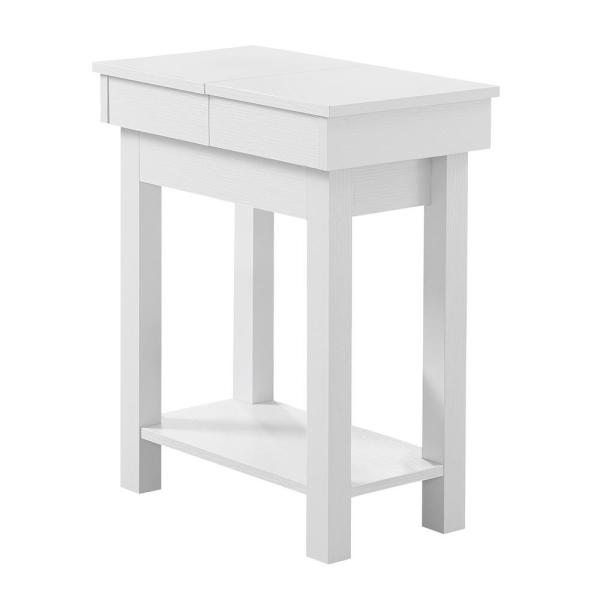 Jasmine 24 in. White, Particle Board, Hollow-Core, Storage - Accent Table