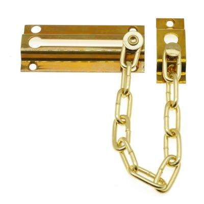Solid Brass Chain Door Guard in Polished Brazz No Lacquer