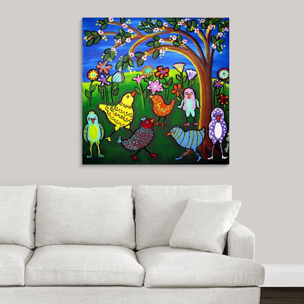 Fun funky birds and blossoms by renie britenbucher canvas wall art