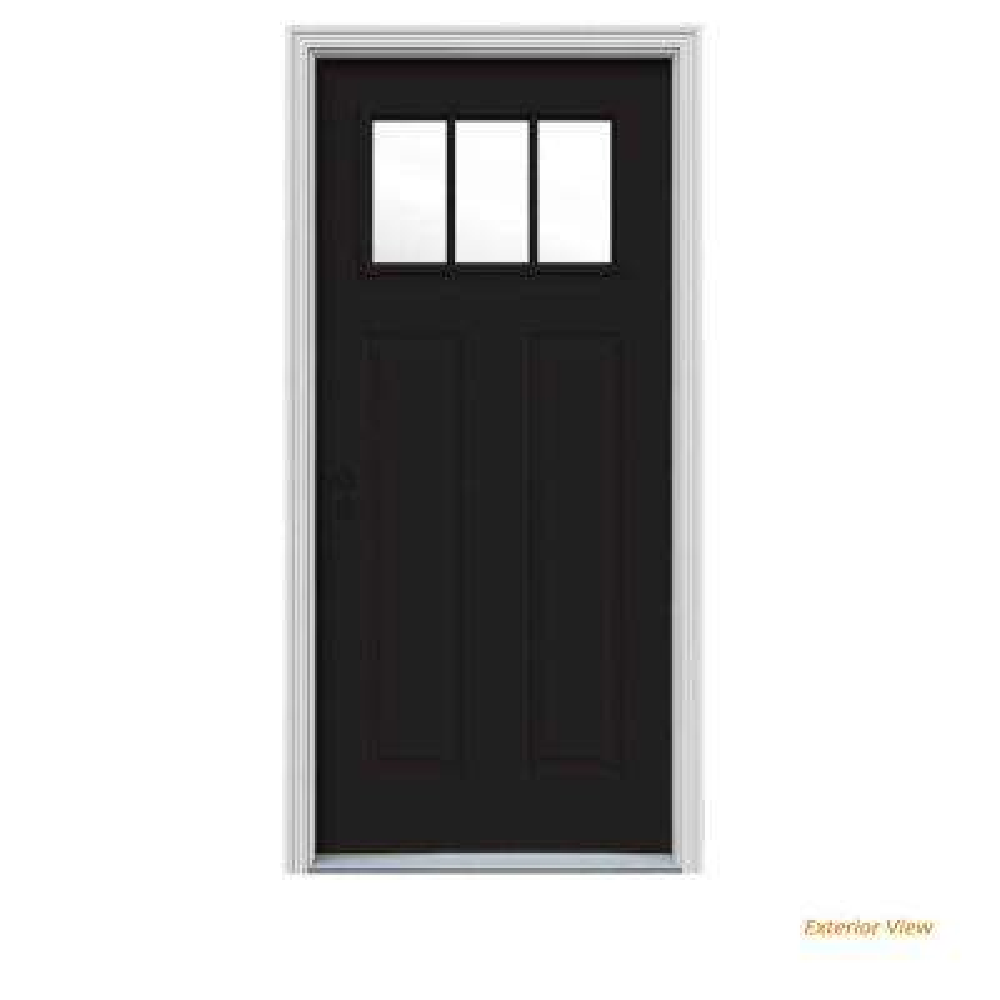 32 in. x 80 in. 3 Lite Craftsman Black Painted Steel Prehung Right-Hand Inswing Front Door w/Brickmould