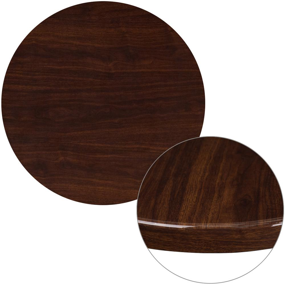 Flash Furniture 30 In. Round High Gloss Walnut Resin Table Top With 2 In