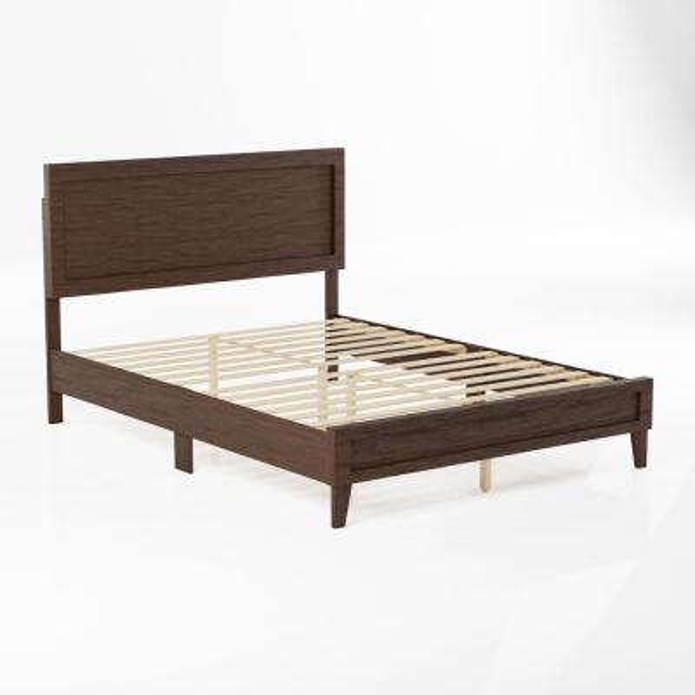 Leah Classic Wood Platform Bed - King - Rustic Mahogany