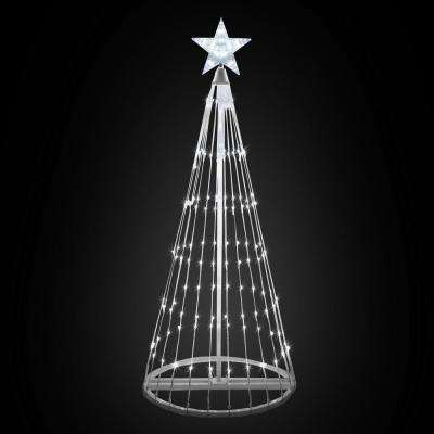144 in. Christmas Cool White LED Animated Lightshow Cone Tree with 442 Lights and Star Topper