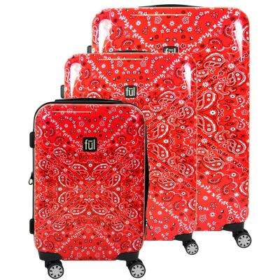 Printed Bandana Hard Sided 29 in., 25 in., and 21 in. 3-Piece Red Suitcases Luggage Set