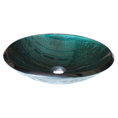Embossed Glass Vessel Sink in Teal with Pop-Up Drain and Mounting Ring in Brushed Nickel
