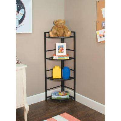 13 in. x 12 in. x 45.5 in. Black 4 Shelf Corner Unit
