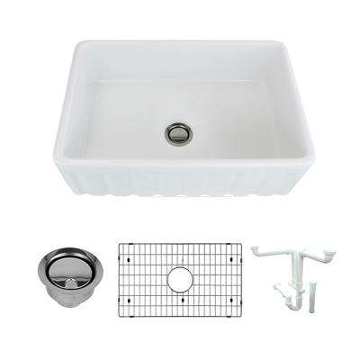 Covington All-in-One Farmhouse/Apron-Front Fireclay 30 in. Single Bowl Kitchen Sink in White