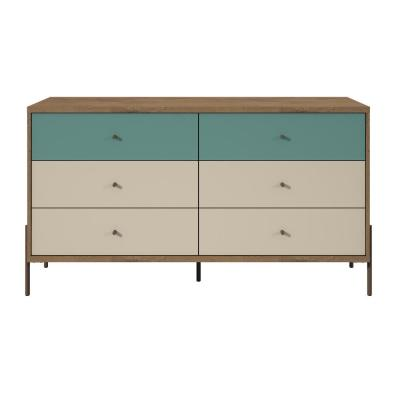 Joy 59 in. Wide 6-Drawer Blue and Off-White Double Dresser