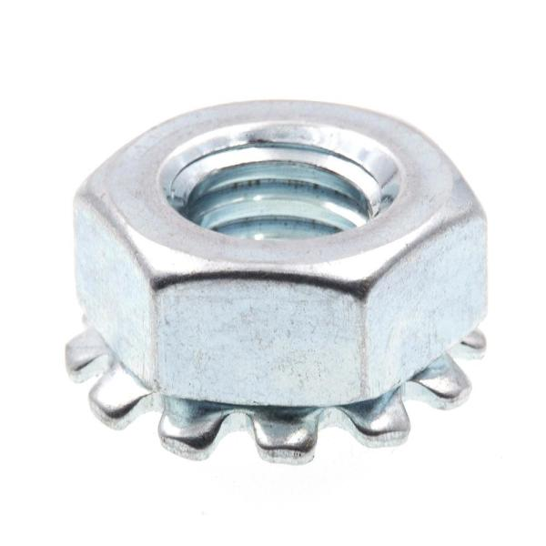 1/4 in.-20 Zinc Plated Steel K-Lock Nuts with External Tooth Washer (50-Pack)