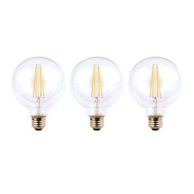 60-Watt Equivalent G25 Dimmable Energy Star Clear Filament Vintage Style LED Light Bulb Daylight (3-Pack)