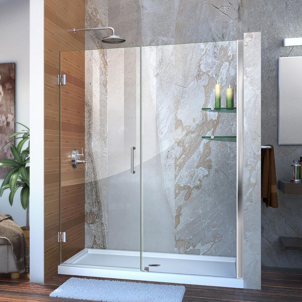 Unidoor 53 to 54 in. x 72 in. Frameless Hinged Shower Door in Chrome