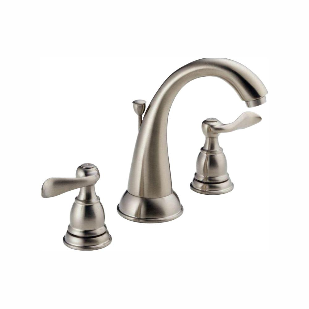 Delta Windemere 8 in. Widespread 2-Handle Bathroom Faucet with Metal Drain  Assembly in Stainless