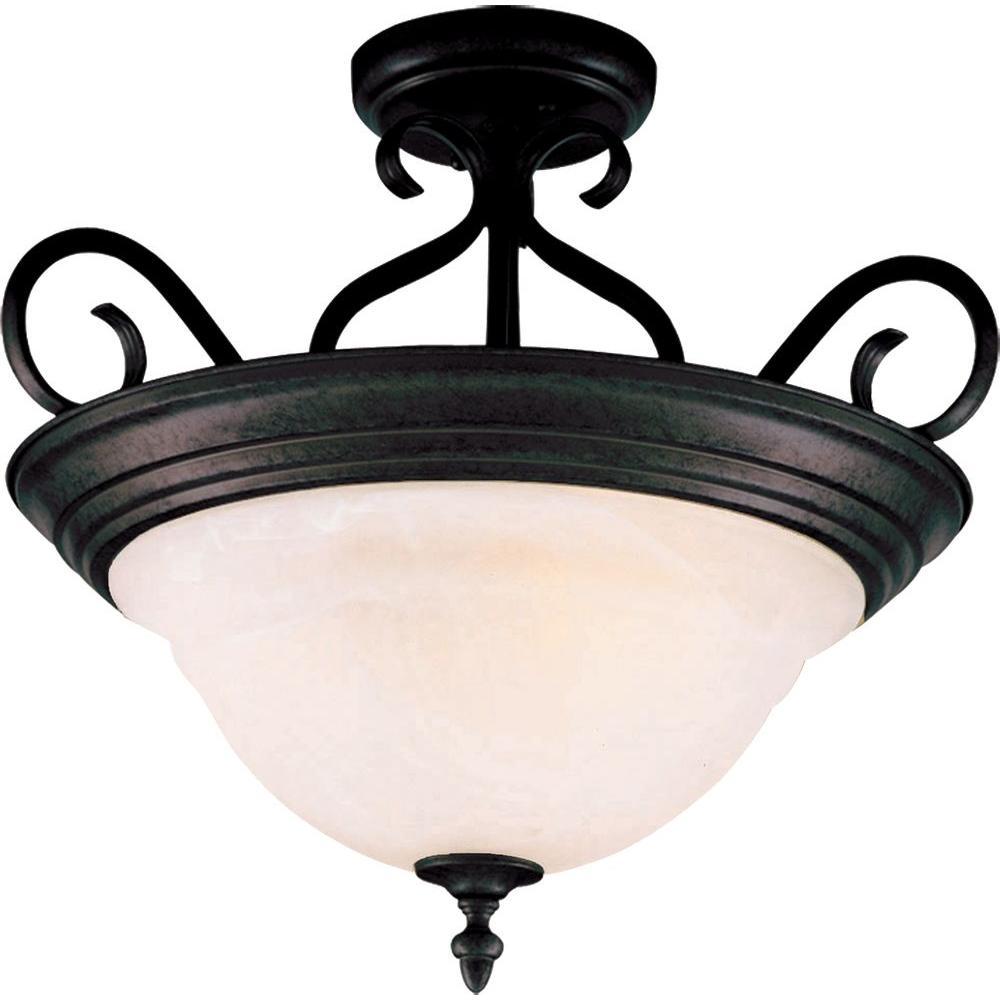 Pacific 3-Light Kentucky Bronze Semi-Flush Mount Light