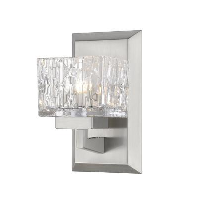 1-Light Brushed Nickel Sconce with Clear Glass