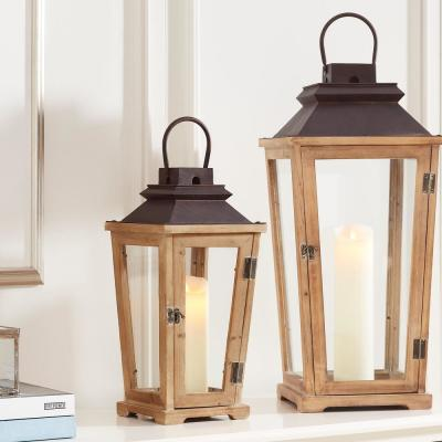 Natural Wood Candle Hanging or Tabletop Lantern with Antiqued Bronze Metal Top (Set of 2)