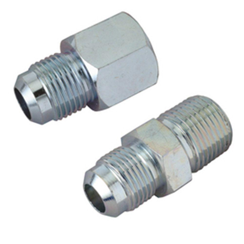 BrassCraft 1/2 in. O.D. Flare Steel Gas Fittings Kit with 1/2 in. FIP and 1/2 in. MIP (3/8 in. FIP) Connections BrassCraft 1/2 in. O.D. Flare Steel Gas Fittings Kit includes (1) 1/2 in. FIP and (1) 1/2 in. MIP with a 3/8 in. FIP tap. Fitting is used with 1/2 in. O.D. gas connectors (CSSD part no. prefix) for appliances with moderate BTU demands such as a standard 4 burner stove, water heater or cook top. Adapts gas connector nut to appliance inlet or gas supply. The flared end of the fitting connects to the gas connector nut. The female end connects to the gas appliance inlet, gas ball valve or gas supply stub out. These fittings are manufactured from steel and feature a corrosion resistant coating.