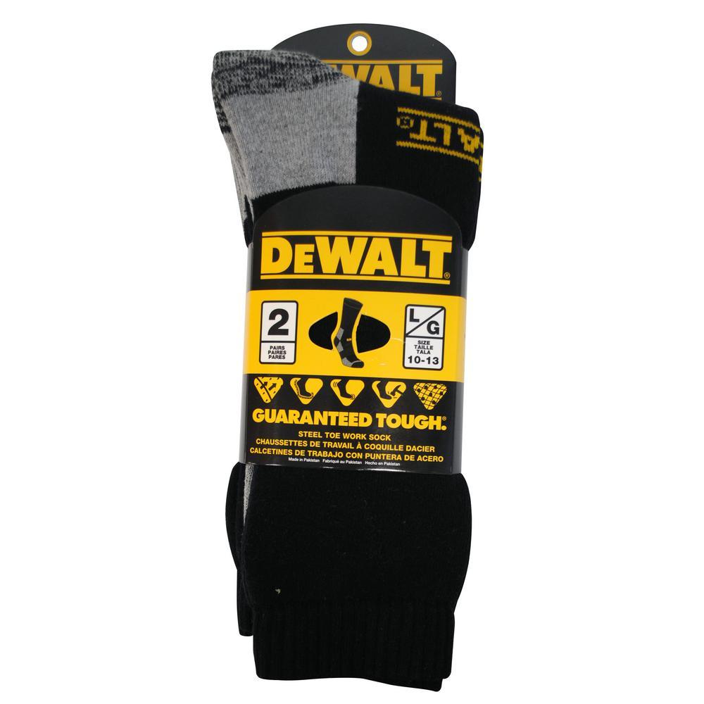 Men 10-13 Black Steel Toe Work Sock (2-Pack)