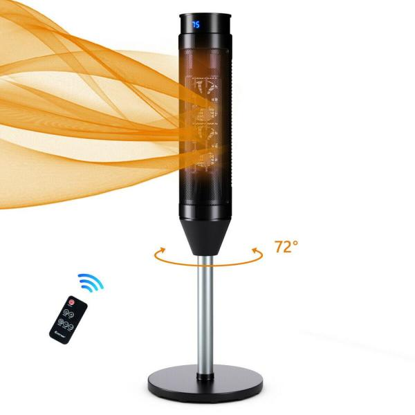 1500-Watt Portable Electric Oscillating Ceramic Space Heater Pedestal Heater with Timer Remote Control Room