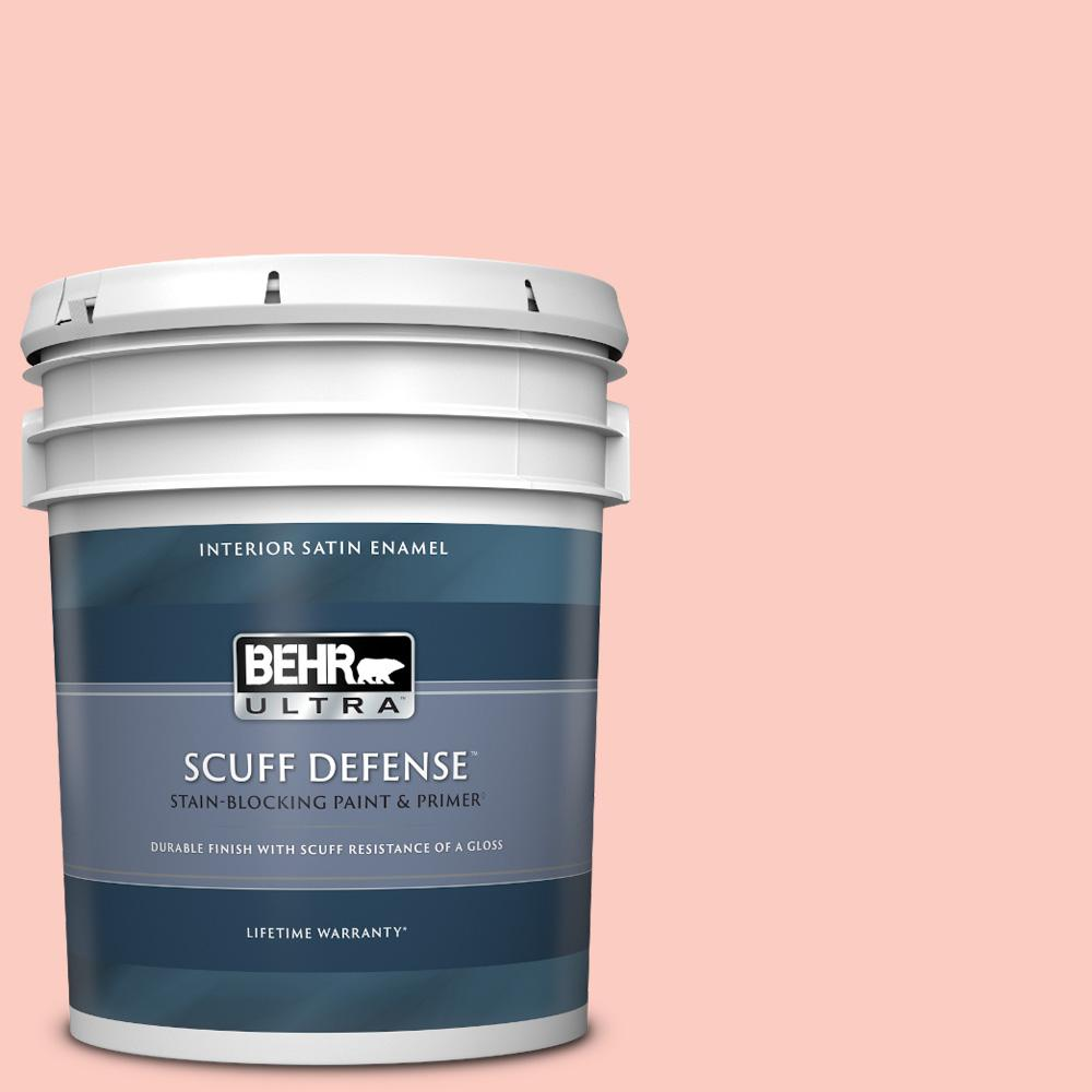 Behr Ultra 5 Gal 170a 2 Strawberry Mousse Extra Durable Satin Enamel Interior Paint And Primer In One 775005 The Home Depot