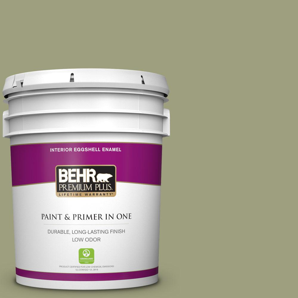 Behr Premium Plus 5 Gal Bic 57 French Parsley Eggshell Enamel Low Odor Interior Paint And Primer In One 240005 The Home Depot