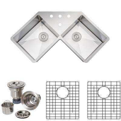 New Chef's Collection Handcrafted Undermount Stainless Steel 46 in. 4 Holes 50/50 Double Bowl Kitchen Sink Package
