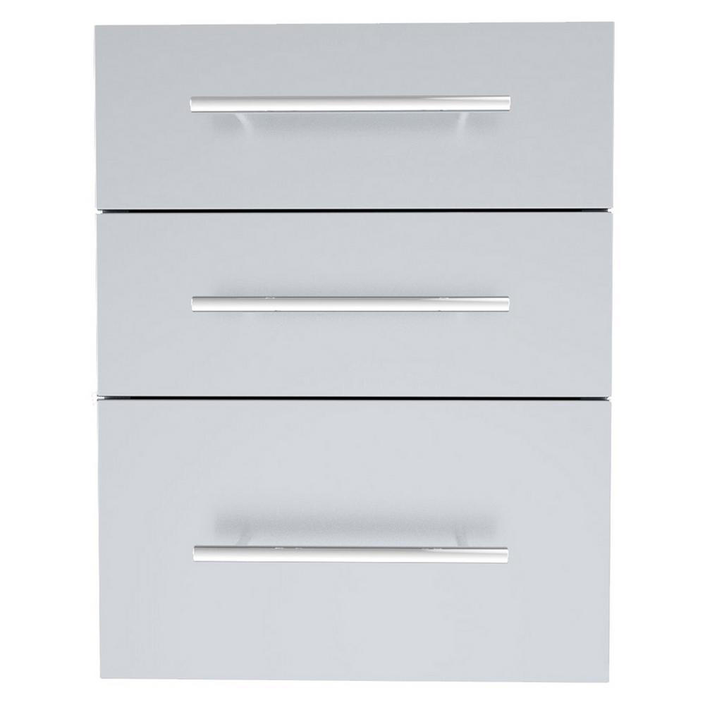 Designer Series Raised Style 18 in. x 23 in. 304 Stainless Steel Triple Drawer