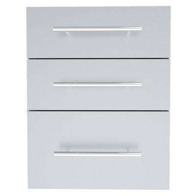 Designer Series Raised Style 18 in. x 23 in. 304 Stainless Steel Triple Drawer