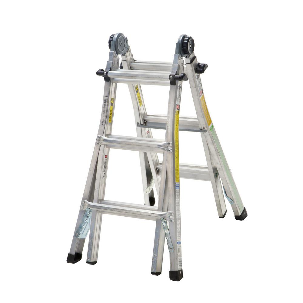 Cosco 13 ft. Reach Aluminum Telescoping Multi-Position Ladder with ...
