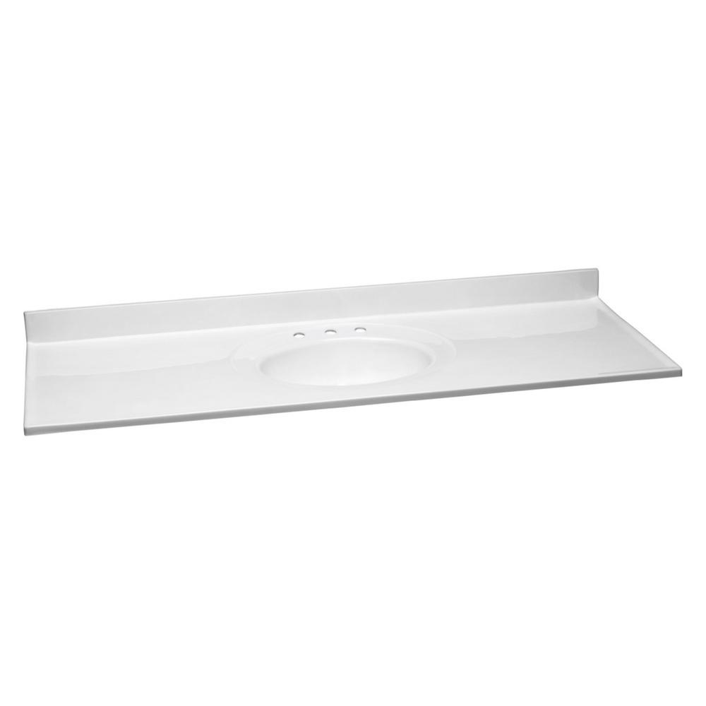 Design House 61 in. W Cultured Marble Vanity Top in Solid White and 8 in. Faucet Spread with Solid White Basin