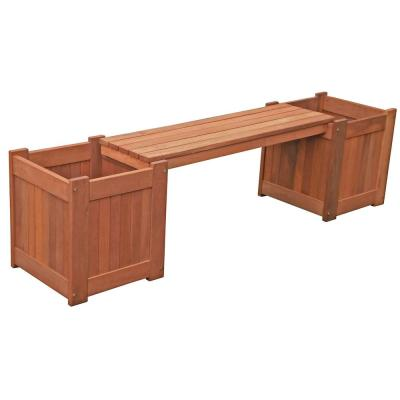 Brighton Wood Outdoor Bench with Planter Boxes
