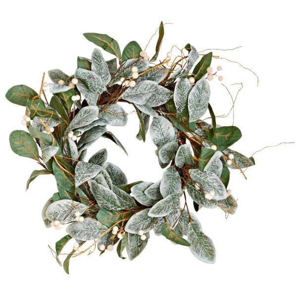 22 In Magnolia Leaves Wreath With White Berries 7737 The Home Depot