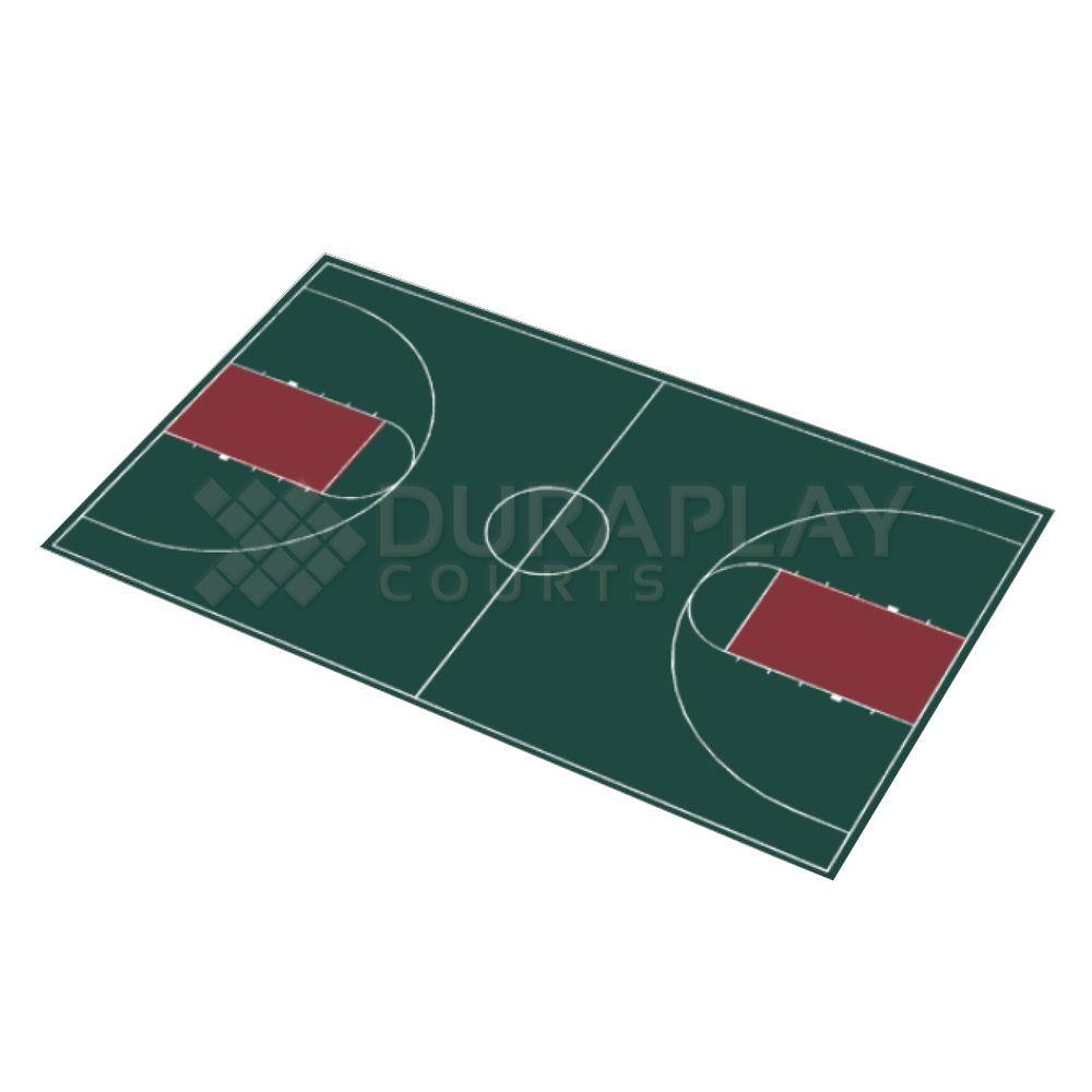 DuraPlay 50 ft. 6 in.  x 83 ft. 11 in. Hunter Green and Burgundy Full Court Basketball Kit