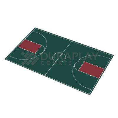 50 ft. 6 in.  x 83 ft. 11 in. Hunter Green and Burgundy Full Court Basketball Kit