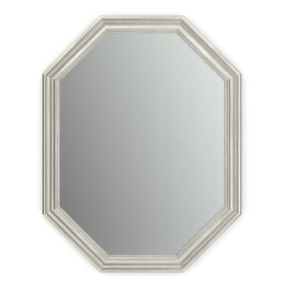26 in. x 34 in. (M2) Octagonal Framed Mirror with Standard Glass and Easy-Cleat Float Mount Hardware in Vintage Nickel