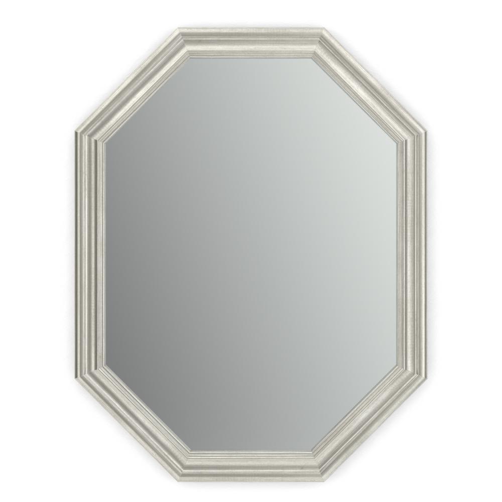 26 in. W x 34 in. H (M2) Framed Octagon Standard Glass Bathroom Vanity Mirror in Vintage Nickel