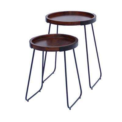 Brown and Black Wooden Round Tray Top End Tables (Set of 2)