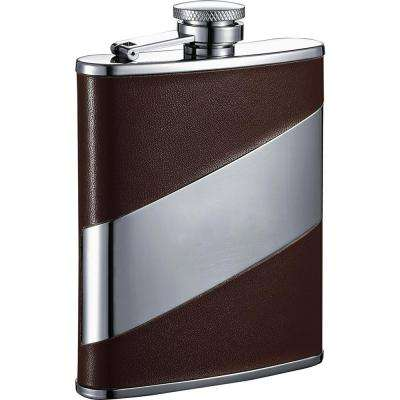 6 oz. Descent Brown Leather and Stainless Steel Liquor Flask