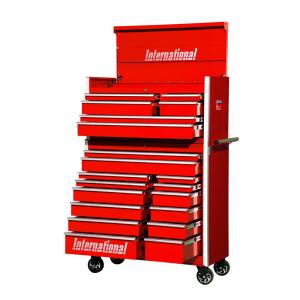 International Pro Series 42 inch 20-Drawer Tool Chest and Cabinet Combo in Red by International