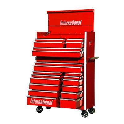 Pro Series 42 in. 20-Drawer Tool Chest and Cabinet Combo in Red