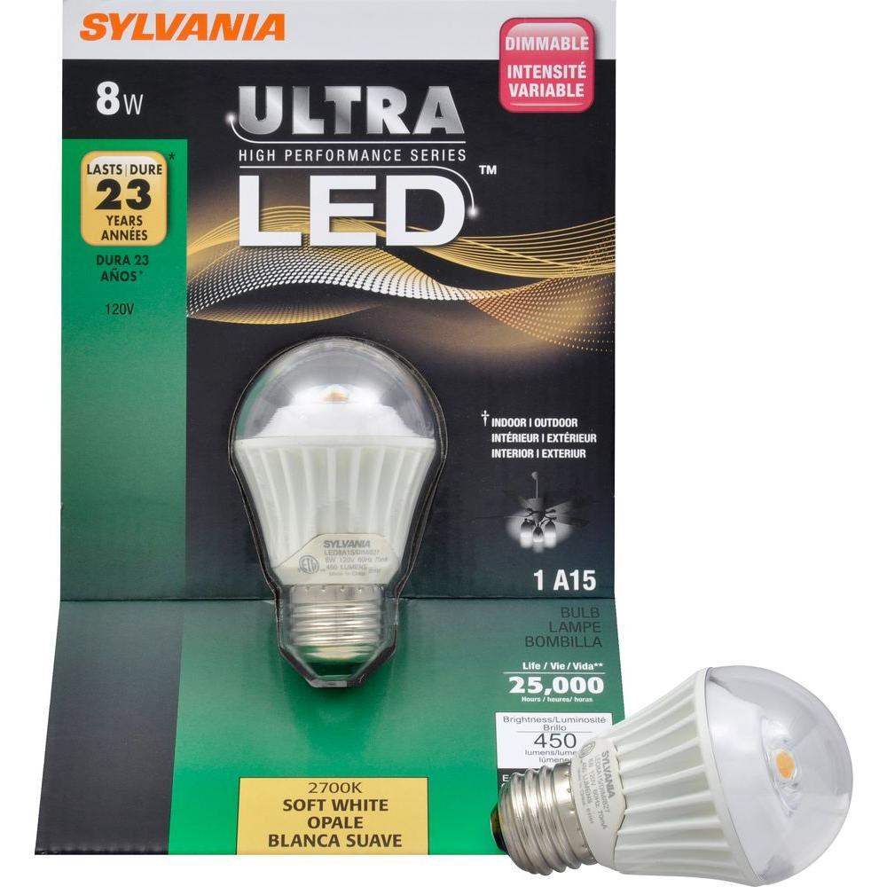 Sylvania 8-Watt (40W) A15 Medium Base Soft White LED Light Bulb