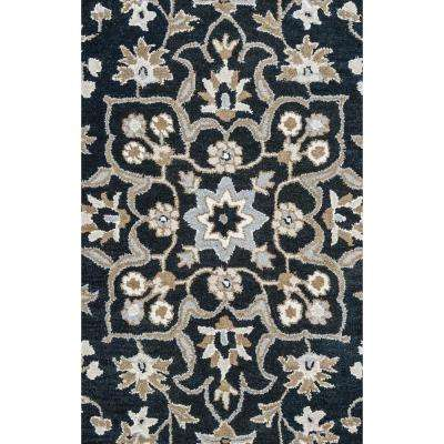 Valintino Black Floral Hand Tufted Wool 8 ft. x 10 ft. Area Rug