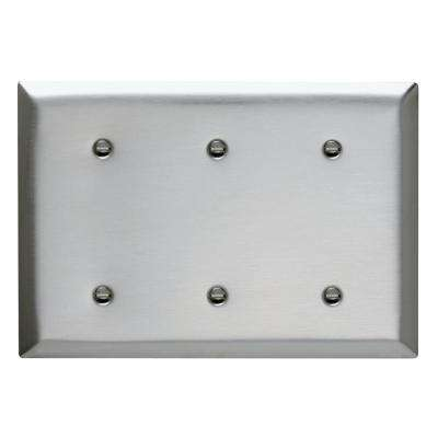 Pass & Seymour 302/304 S/S 3 Gang 3 Strap Mounted Blank Wall Plate, Stainless Steel (1-Pack)