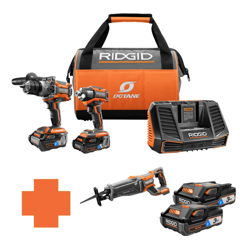 RIDGID 18-Volt OCTANE Lithium-Ion Cordless Brushless Combo Kit w/Bonus Brushless Recip Saw & (2) Bluetooth 3.0 Ah Battery