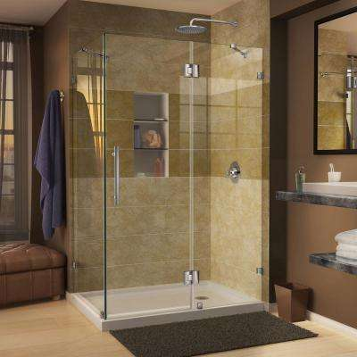 Quatra Lux 34-5/16 in. x 46-5/16 in. x 72 in. Frameless Corner Hinged Shower Door in Chrome