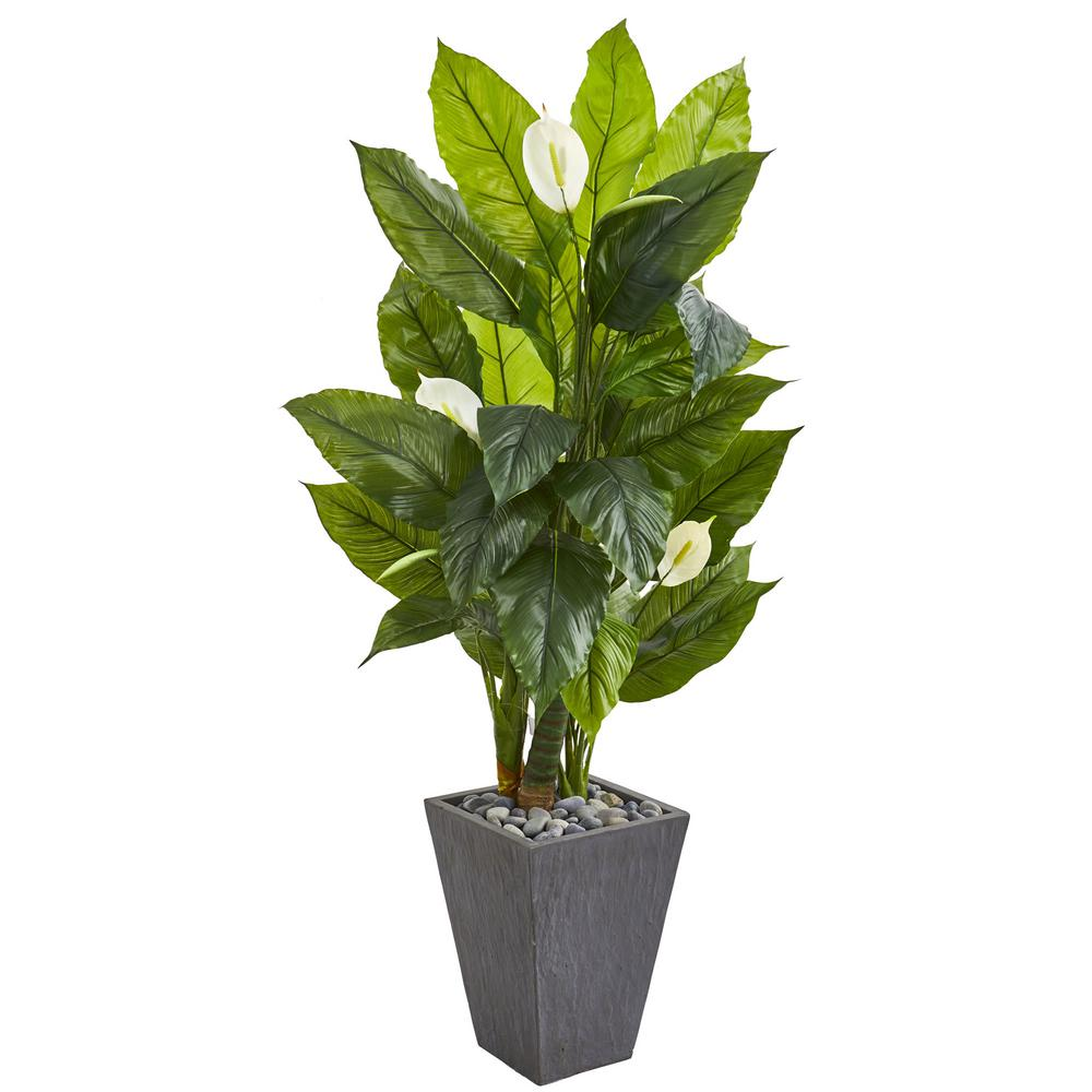 Nearly Natural Indoor 63 Spathiphyllum Artificial Plant In Slate Planter 9443 The Home Depot