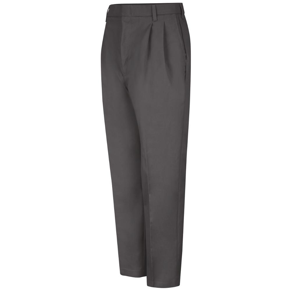 Red Kap Uniforms Men's 38 in. x 32 in. Charcoal (Grey) Pleated Twill Slacks