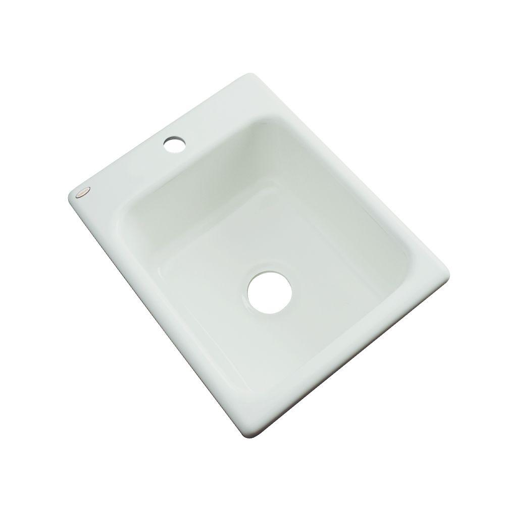 Thermocast Crisfield Drop-In Acrylic 17 in. 1-Hole Single Bowl Prep Sink in Ice Grey