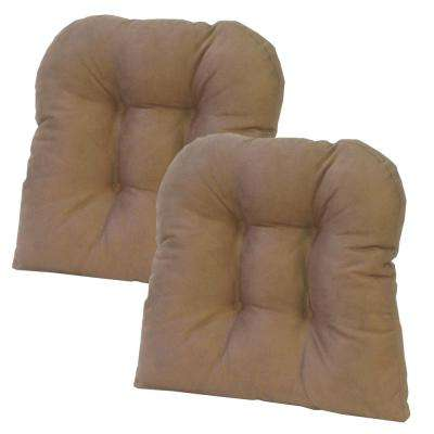 Gripper Non-Slip 15 in. x 15 in. Obsession Dark Brown Tufted Universal Chair Cushions (Set of 2)